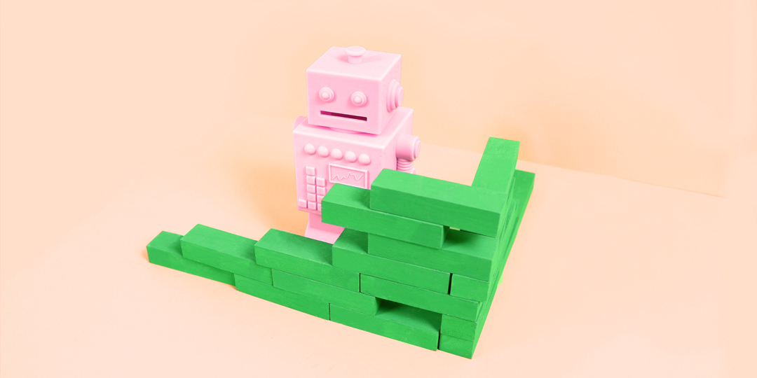 Pink bot blocked by green wall