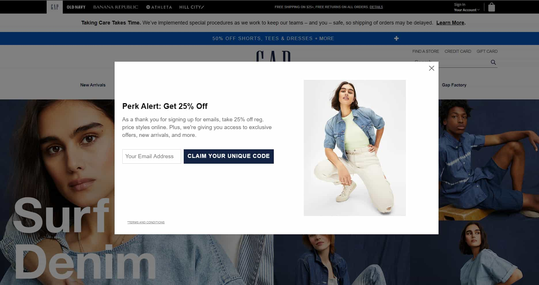 GAP popup to collect email for ecommerce newsletter