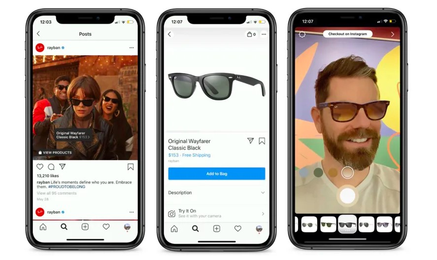 mobile instagram augmented reality sunglasses