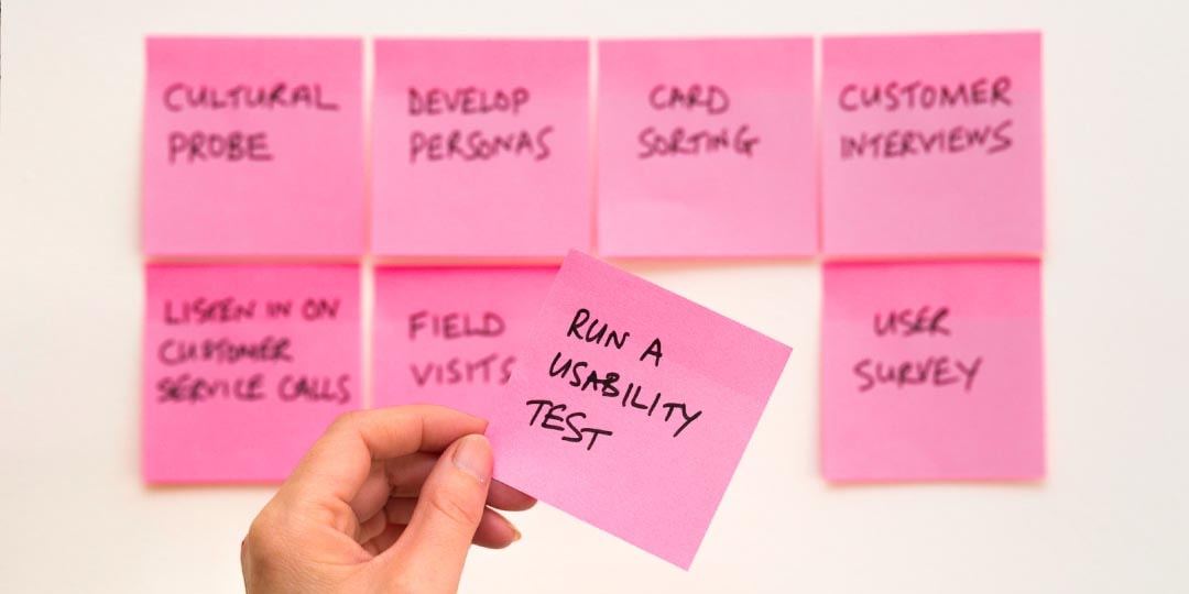usability testing pink sticky notes