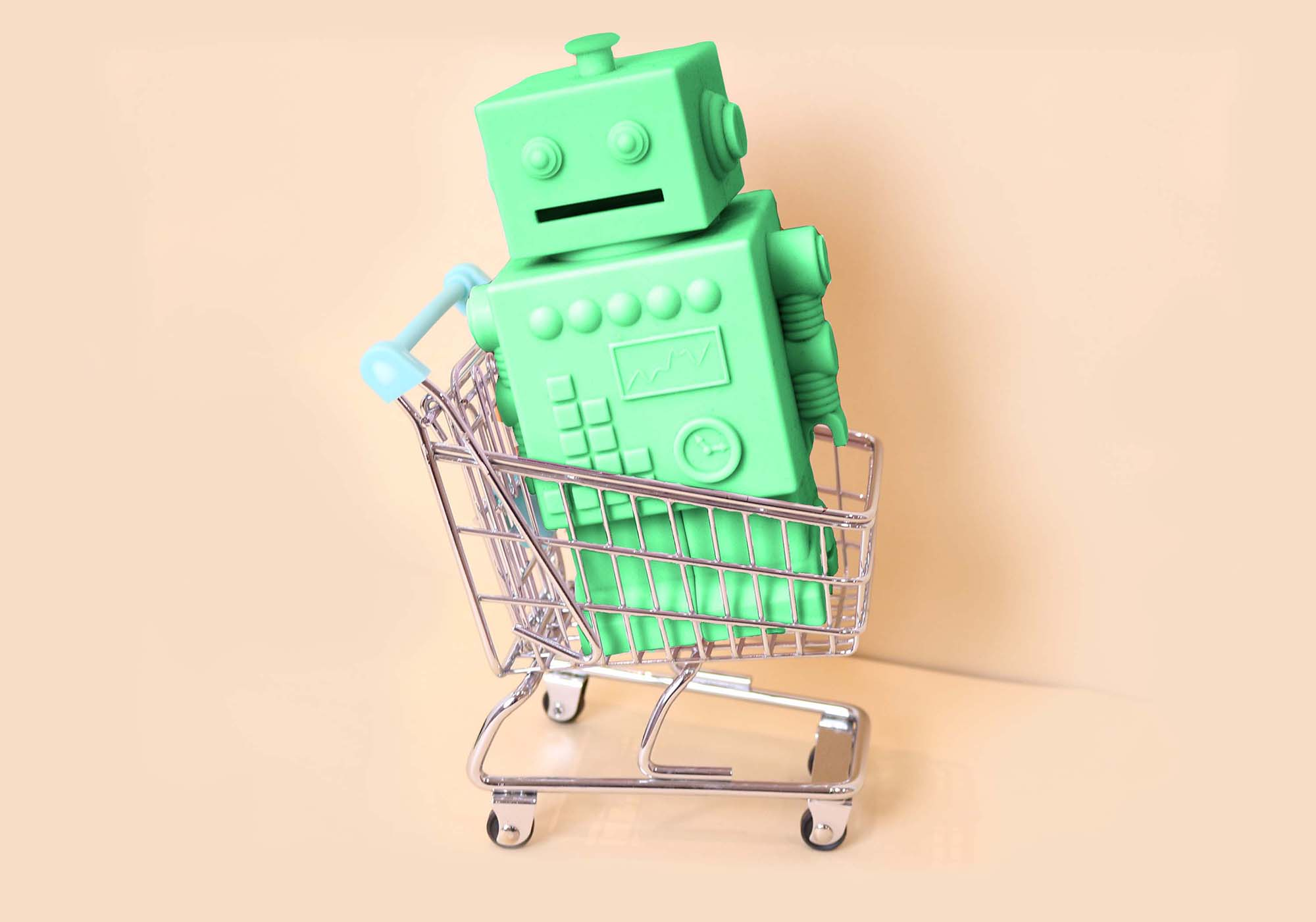 Green ecommerce bot in shopping cart
