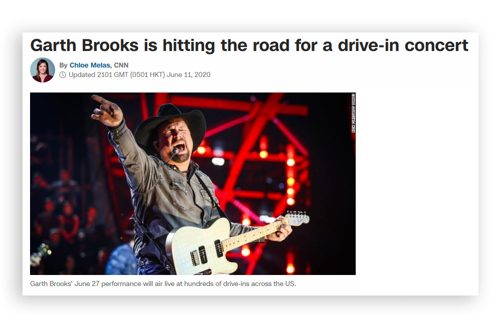Garth Brooks drive in concert news clipping