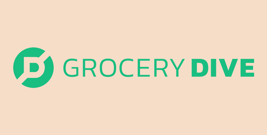 Grocery Dive logo on beige background