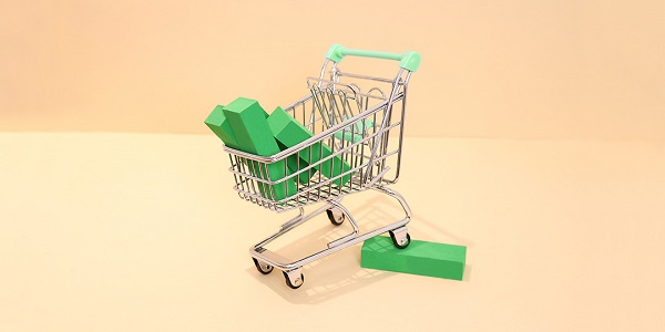 shopping cart with green blocks