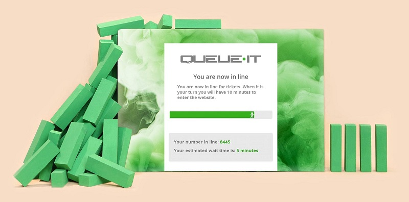 Queue-it virtual waiting room with green blocks