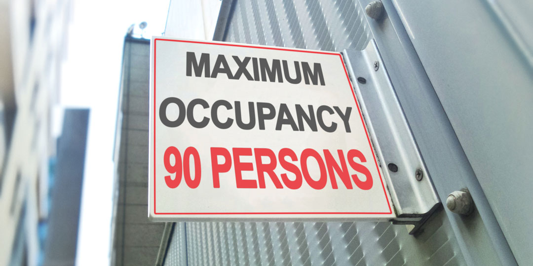 maximum occupancy sign for 90 persons