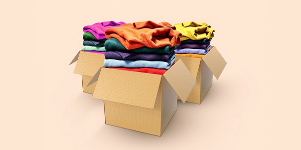cardboard boxes with clothing