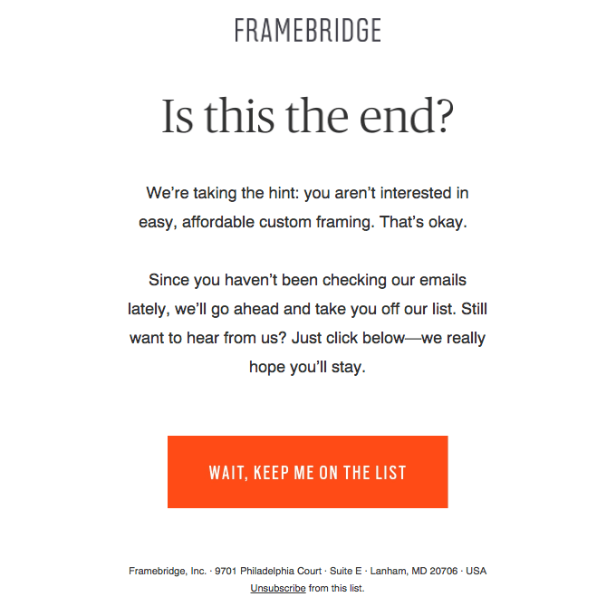 Retention email example from Framebridge