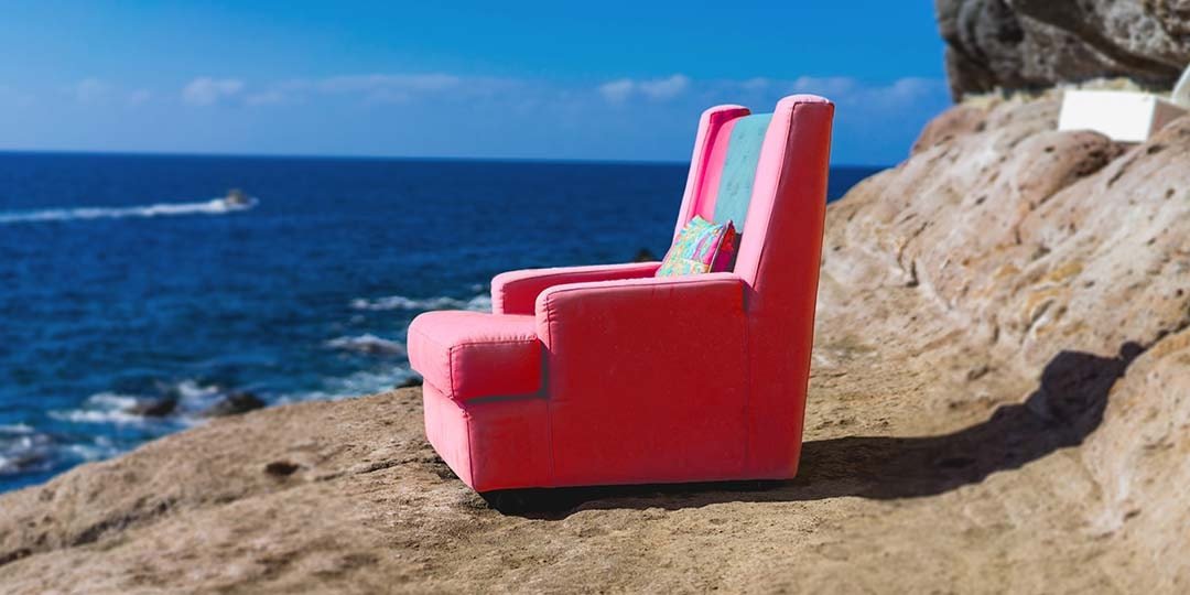 single chair by the sea