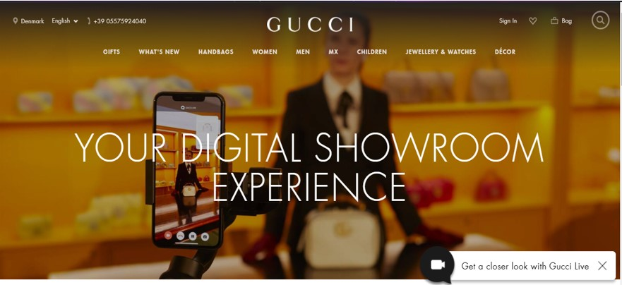 Gucci digital showroom experience