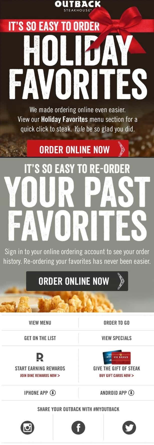 Outback Steakhouse email example clear sections & practical information added