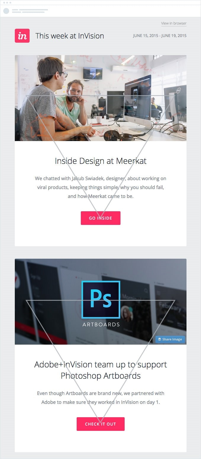 Inverted pyramid email newsletter design example from Adobe
