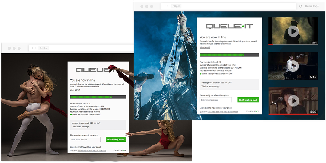 Custom queue pages ticket sales