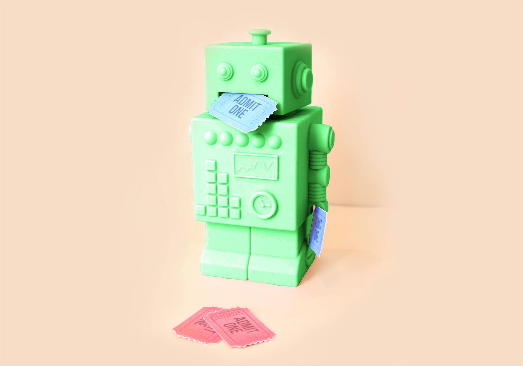 Green ticket bot with blue ticket in its mouth